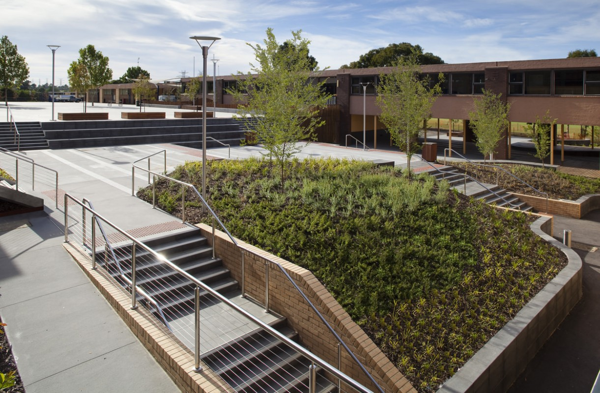 salesian college mdg landscape architects granite range mimosa drop down steps custom curves commercial 2