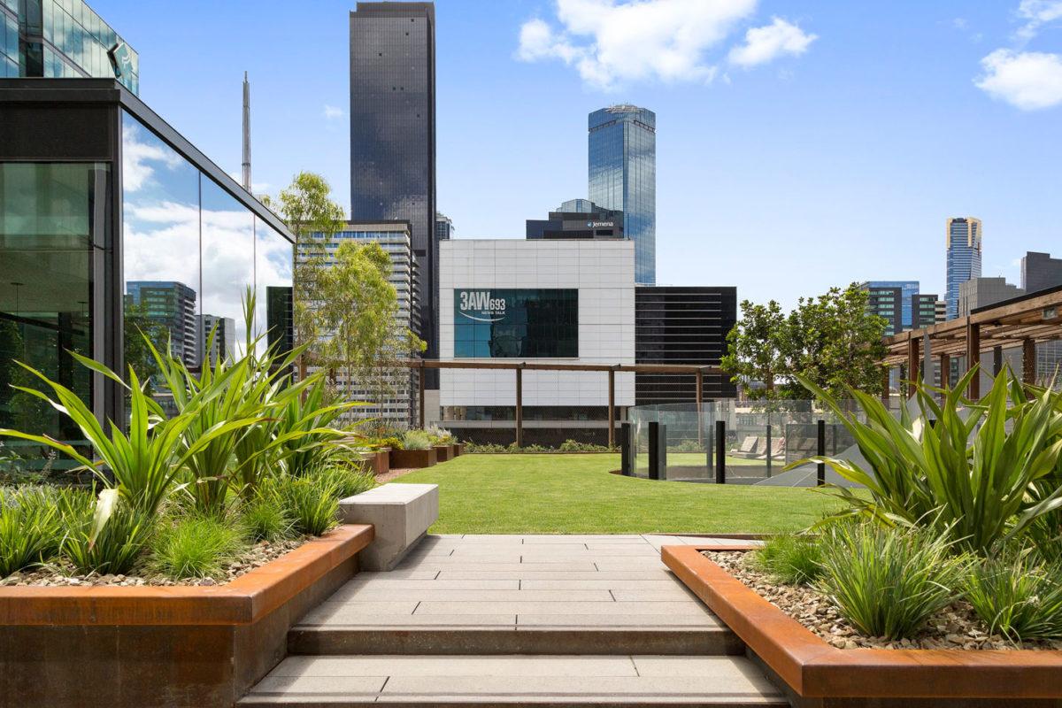 Anston paving planks installed at Skypark, One Melbourne Quarter.